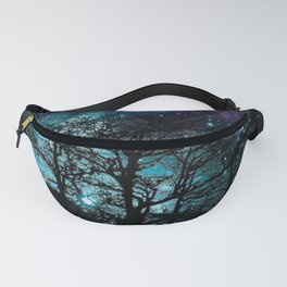 Black Trees Teal Violet space Fanny Pack