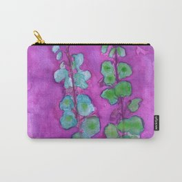 Hollyhock Foxglove Watercolor on Fuchsia Magenta Carry-All Pouch