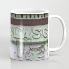 Flaked green paint on old press from Glasgow Coffee Mug