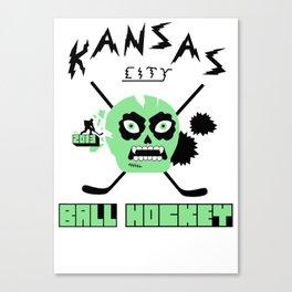 Kansas City Ball Hockey Thrashed Skull [Orange] Canvas Print