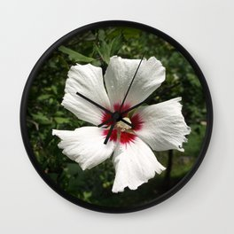 Hibiscus, White Wall Clock