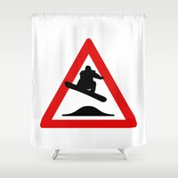 snowboard Shower Curtains featuring Snowboard road sign by Komrod
