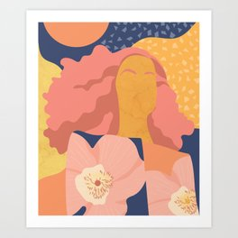 Women with eyebrow in the desert with flowery coat Art Print
