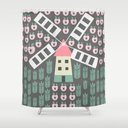 Windmill, apples and grains Shower Curtain