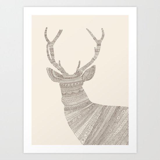Stag / Deer (On Beige) Art Print