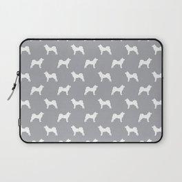 Akita silhouette dog breed pattern minimal dog art grey and white akitas Laptop Sleeve