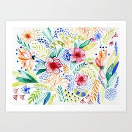 Summer flowers pattern Art Print