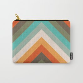 Vintage abstract chevron stripes - orange, green, yellow Carry-All Pouch