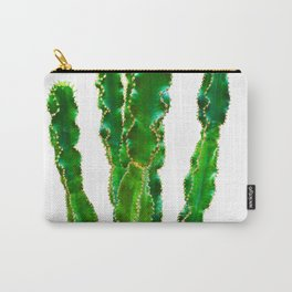 Vivid Green Cactus with Gold Studs Carry-All Pouch