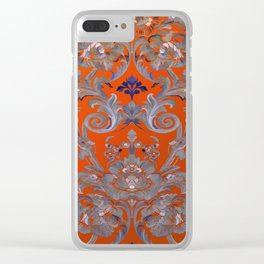 Painted Tibetan Brocade orange Clear iPhone Case