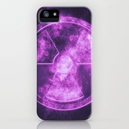 Radiation sign, Radiation symbol. Abstract night sky background iPhone Case