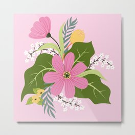 Blooming Colorful Composition Pink Metal Print