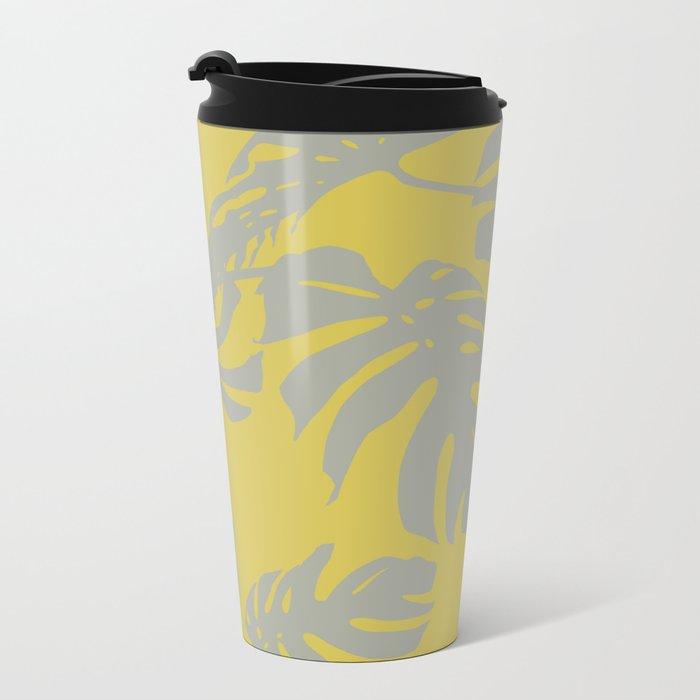 Palm Leaves Retro Gray on Mod Yellow Metal Travel Mug