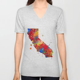 California State Map Watercolor Painting Unisex V-Neck