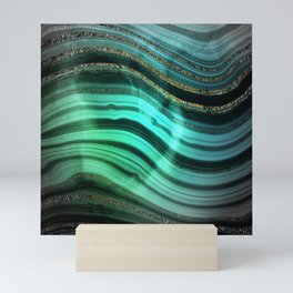 Gold Indigo Malachite Marble Waves Mini Art Print
