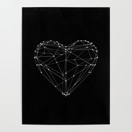 Polygon Love Heart modern black and white minimalist home room wall decor canvas Poster