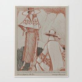 La Gazette du Bon Ton, 1921 - No. 3, Pl XII tailor Suit, Jeanne Lanvin;. and dress for the races, Be Canvas Print