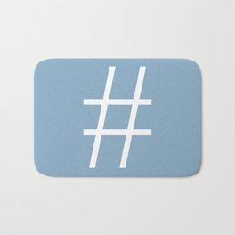 number sign on placid blue color background Bath Mat