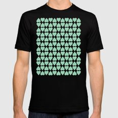 Diamond Hearts Repeat Mint MEDIUM Mens Fitted Tee Black