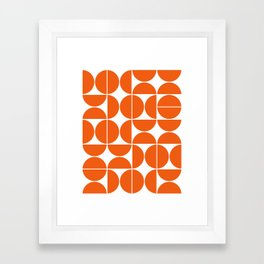 Mid Century Modern Geometric 04 Orange Framed Art Print
