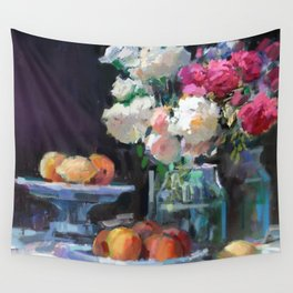 Still Life with White & Pink Roses Wall Tapestry