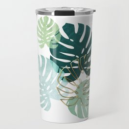 Tropical minimal / green, turquoise and gold monstera Travel Mug