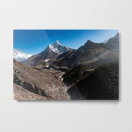 Nepalese valley and mountains with a village at the bottom Metal Print