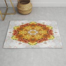 Gold Chrysanthemum Kaleidoscope Art 2 Rug
