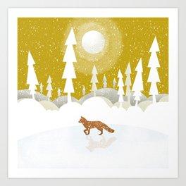 Winter night in the north Art Print