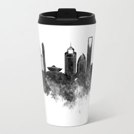 Riyadh skyline in black watercolour  Travel Mug