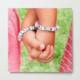 Big Sis & Lil Sis Holding Hands Metal Print