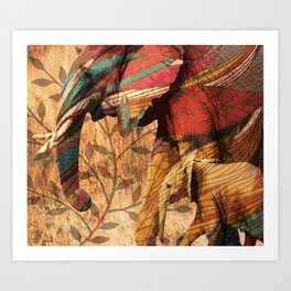 African Patterned Elephants Art Print