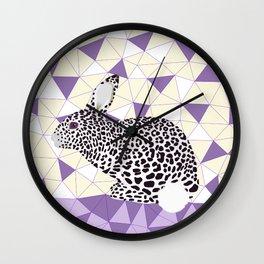 Cute Purple Pastel Rabbit Leopard Pattern Design Wall Clock