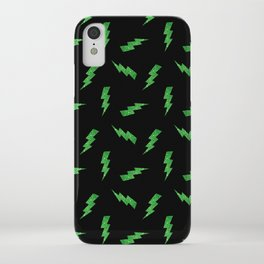 Green Glitter Lightning Bolts in Black iPhone Case