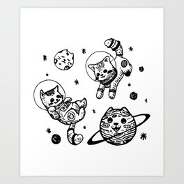 Kitty Cats Flying in Space - Kittens Art Print