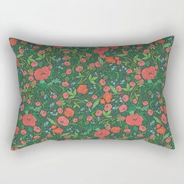 Scarlet poppies with clover and bluebells Rectangular Pillow