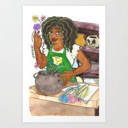 Flower Shop Witch Art Print