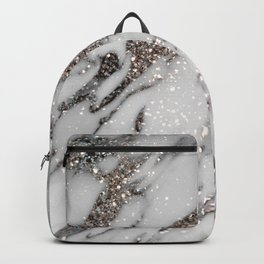 Classic White Marble Silver Glitter Glam #1 (Faux Glitter) #marble #decor #art #society6 Backpack