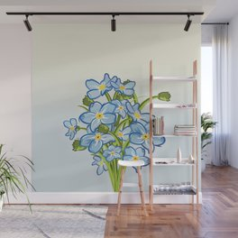 Bouquet of Blossoming Myosotis Flowers Wall Mural