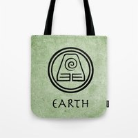 avatar the last airbender Tote Bags featuring Avatar Last Airbender Elements - Earth by bdubzgear