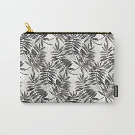 Tropical Feather Leaves in Grey Carry-All Pouch