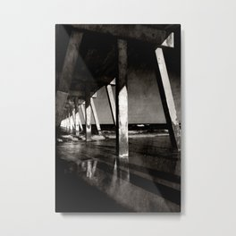 Johnny Mercer's Pier Wrightsville Beach NC Gritty Monochrome Metal Print