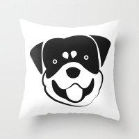 rottweiler Throw Pillows featuring Rottweiler by anabelledubois