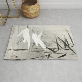 Egrets flying over the swamp - Japanese vintage woodblock print art Rug