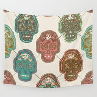 mexican Wall Tapestries featuring Mexican Skull  by Sezgen
