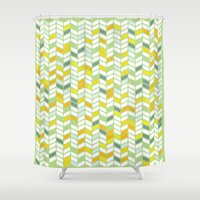 herringbone Shower Curtains featuring Herringbone by Jaybeak