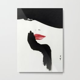 Black Hat Minimalist Retro Vintage Fashion Poster Metal Print