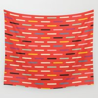 scandinavian Wall Tapestries featuring Modern Scandinavian Dash Red by Season of Victory