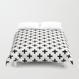 Criss Cross | Plus Sign | Black and White Duvet Cover