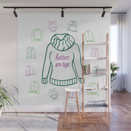 Knitters Are Tops - Plummy Wall Mural